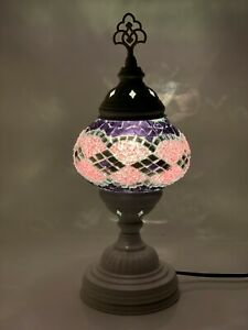 Turkish Moroccan White Colour Stand Tiffany Glass Desk Table Lamp + Free Bulb