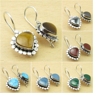 925 Silver Plated Deco Earrings, Genuine Gemstone CHOICES Jewelry Store