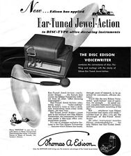 Thomas Edison Voicewriter DISC TYPE DICTATING Ear Tuned Jewel Action 1949 Ad