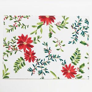 Food Network 4-pc Placemat Set Christmas Holly Pine Poinsettia Stain-Resistant