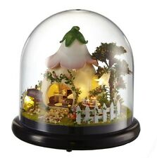 Cute LED Glass Wood Model Kits Dollhouse Miniature DIY Garden House Handcraft