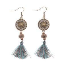 Vintage Bohemian Colorful Flower Fringe Blue Tassel Drop Dangle Women's Earrings