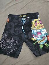 Ed Hardy Mens Skull Art Board Shorts Swim Trunks Size 34 EUC