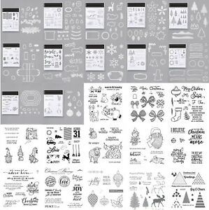 Christmas Scene Snowflake Trees Clear Stamp Cutting Die Diy Scrapbooking Crafts