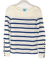 J McLaughlin Cream Stripe Blue Crew Neck Nautical 100% Merino Wool Sweater Sz XS