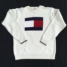 BIG FLAG TOMMY HILFIGER WHITE KNIT SWEATER TOMMY LOGO KNIT SIZE LARGE