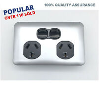 Slimline Wafer Double Power Point Slim GPO Black Silver Outlet 10 AMP Electrical