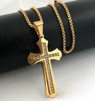 Herren Edelstahl Halskette Kreuz Anhänger Zirkonia 999er Gold 24K vergoldet 60cm