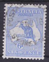 K921) Australia 1915 6d Bright blue Kangaroo 3rd wmk Die II variety 'Watermark