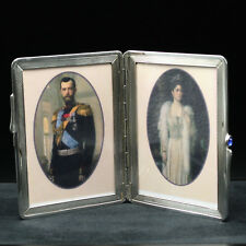 Faberge Picture Frame Sterling Silver Cigarette Case Style with Wave Design