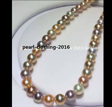 """AAAAA 18""""10-11mm South sea natural round Multicolor pearl NECKLACE 14K gold"""