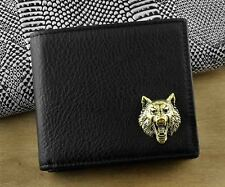 High Quality Mens Genuine Leather Card Holder Coin Wallet w/ Wolf Concho