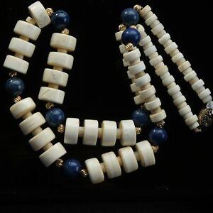 Vtg Estate Chinese Lapis Lazuli 10k Gold Graduated Carved Bead Necklace c1950-80