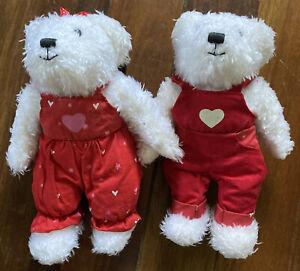 "HALLMARK White Fur Boy & Girl Kissing Bears & Hand Holding 9"" Tall Red Overalls"