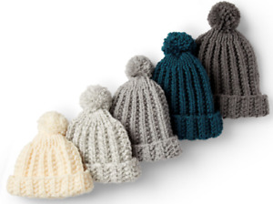 KNITTING PATTERN EASY CHUNKY RIBBED BOBBLE HAT FOR ALL THE FAMILY  AGE 2-ADULT