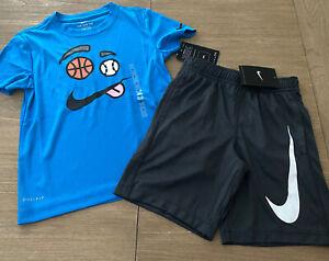 NWT Boy Size 7 Nike Dri Fit Outfit Blue Sports T Shirt & Gray Logo Pocket Shorts