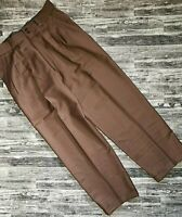 Albarden 100% Wool Pants Mens Brown Pleated Cuffed hems Vintage High Waisted