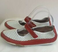 Ladies Shoes Wild Sole Crystal Leather Flat Mary Jane style White Red Size 8