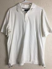 Nordstrom Men's Shop White Knit Polo Golf Shirt Size Large EUC Short Sleeve 8815