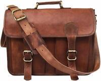 Genuine Leather Laptop Messenger Briefcase Men Satchel Shoulder Portfolio bag