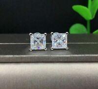 4Ct Princess Cut VVS1/D Diamond Solitaire Stud Earrings In 14K White Gold Finish