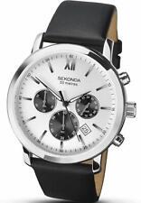 NEW 1205 Sekonda Chronograph Silver Grey Dial Black Leather Strap Gents Watch