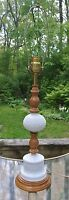 Vintage Hobnail White Milk Glass & Wood Electric Table Lamp
