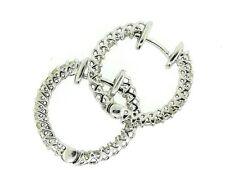 .85CT Diamond Hoop Earrings Set  in 14k White Gold 3/4' Diameter