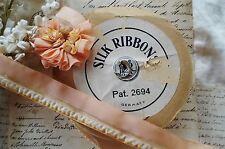 1/2y ANTIQUE VINTAGE SILK PEACH PINK RUFFLE INSERT RIBBON WORK FLOWER TRIM DOLL