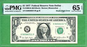 US  ONE DOLLAR  1977   STUCK DIGIT ERROR  PMG 65 EPQ