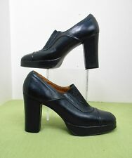 Vintage Late 60's~70's Coutessina Navy Blue Leather Platform Heels Shoes Sz 7