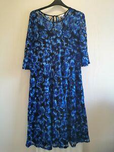 JULIPA - Blue lacy floral patterned lined dress - Size 18 BNWOT