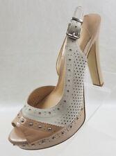 Gianni Bini Platform Heels Sling Back Peep Toe Beige Patent Womens Shoes Sz 9.5
