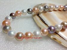 """AAAAA 18""""9-10mm real South sea white pink purple Multicolor pearl necklace 14K"""