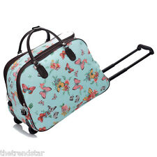 Ladies Travel Bags Holdall Hand Luggage Women's Weekend Handbag Wheeled Trolley Blue Butterfly S3