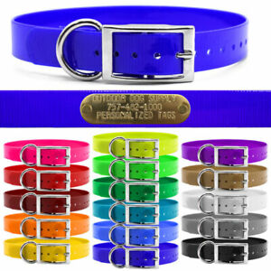 """Hunting Dog Name Collar Strap 1"""" Solid Color D Ring & Free Brass ID Plate"""