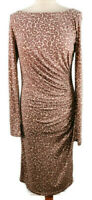 LK Bennett Size 12 Dusky Pink Cream Leopard Long Sleeve Ruched Silk Midi Dress