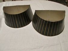 Pr Tole Metal DemiLune Half Round Lamp Shades Black Gold Striped for Wall Scones