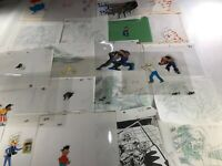 Animation Production Cels and DrawIngs Huge Lot - 21 Cels and 21 Drawings