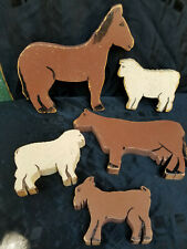Lot of Vintage Folk Art Hand Carved Wooden Farm Animals One Of A Kind