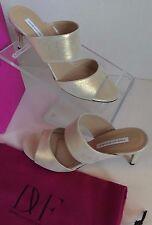 DIANE VON FURSTENBERG DVF Keri Gold Powder Suede Open Toe Strap Heel Sandals 10