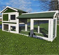 6FT LONG RABBIT HUTCH GUINEA PIG HUTCHES RUN RUNS LARGE 2 TIER GREEN CAGE