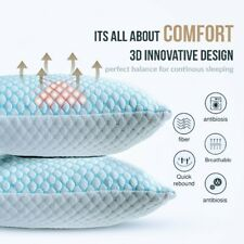 �Instant Cooling Bed Pillows, King 2 Pack - Supports Neck, Back & Side Sleepers