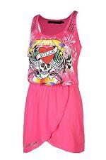 Ed Hardy Women's Rock Hard Embellished Dress (Fuchsia) 96%Rayon, 4%Spandex