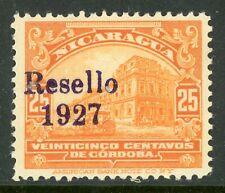 Nicaragua 1927 Cathedral Provisional 25¢ Orange w/Black Ink Mint  V183 ⭐