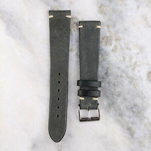 Vintage Style Calfskin Leather Watch Strap - Navy Grey - 20mm/22mm