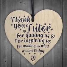 Thank You Tutor Teacher Mentor Support Wooden Heart Leaving Gift Plaque Sign