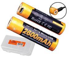Fenix ARB-L18-2600U USB Rechargeable 2600mAh 18650 Batteries x2 & Batt Organizer