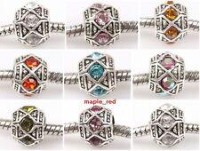 Fashion Rhinestone Big Hole Tibet Silver Beads For European Charm DIY Bracelet