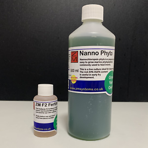 Live marine Nannochloropsis phyto 500ml with FREE ZM F2 fertiliser 50ml combo